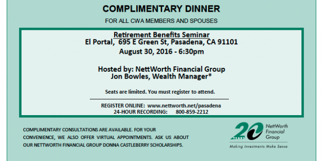 NettWorth Financial Group Workshop- complimentary dinner!