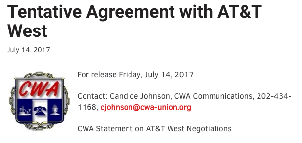 Tentative Agreement with AT&T West!